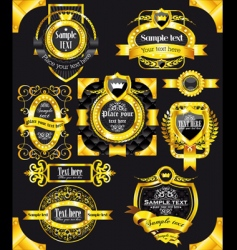 golden vintage black labels vector image