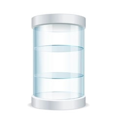 Round empty glass showcase for exhibit vector