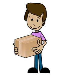 Cartoon man with the box vector image vector image