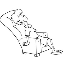 Cartoon woman resting in a chair vector