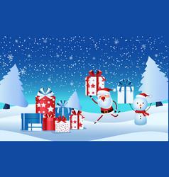 cheerful santa claus snowman holding gift box vector image vector image