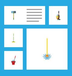 Flat icon cleaner set of bucket equipment mop vector