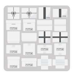 flat icons various cardboard box set vector image