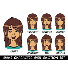 game character girl brown hair emotions set vector image vector image