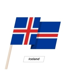 Iceland Ribbon Waving Flag Isolated on White vector image
