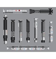 Light swords handles set Futuristic melee sci fi vector image