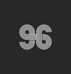 Number logo 96 creative offset thin line monogram vector image