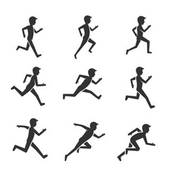black man running figure isolated on white vector image