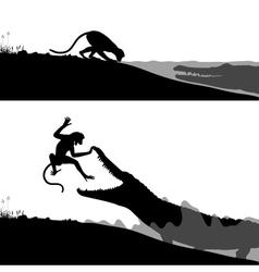 Crocodile and monkey vector image vector image