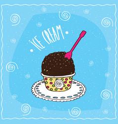 dark chocolate scoop of ice cream in cup vector image