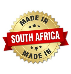 made in South Africa gold badge with red ribbon vector image