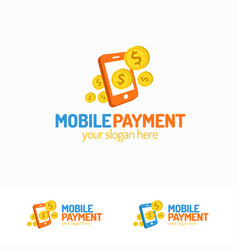 mobile payment logo set with phone and money vector image