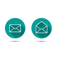 Open and close envelope icons with long shadow on vector image vector image
