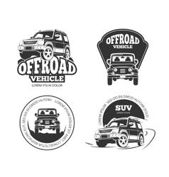 Suv pickup retro emblems logos badges and vector image vector image