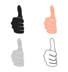 thumb up icon in cartoon style isolated on white vector image vector image
