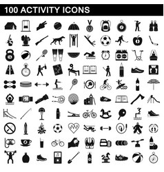 100 activity icons set simple style vector image