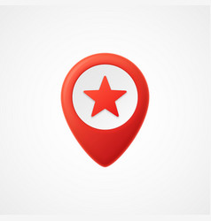 3d map pointer with star icon map markers vector