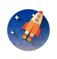a rocket in space Icons in flat style - start vector image