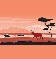 Africa wild nature landscape with african animal vector
