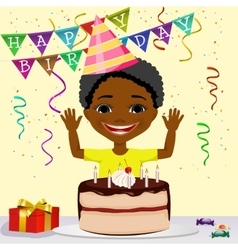 African american boy boy celebrating his birthday vector