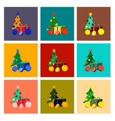 Assembly flat christmas tree orange gift vector