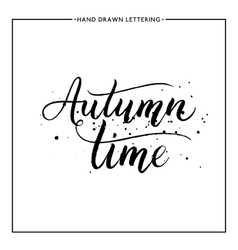 Autumn time text - hand painted lettering vector