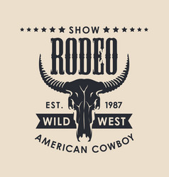 banner for a cowboy rodeo show with a bull skull vector image