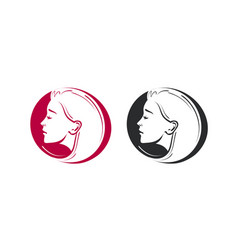 beauty shop salon barbershop logo portrait of vector image