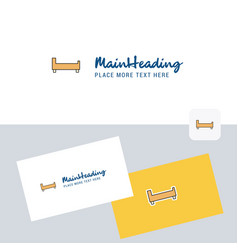 bed logotype with business card template elegant vector image