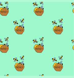 bee and honey seamless green patter vector image