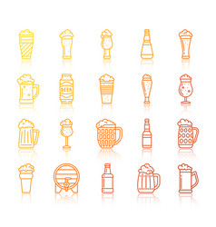 beer oktoberfest simple line icons set vector image