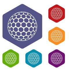 black and white golf ball icons set hexagon vector image