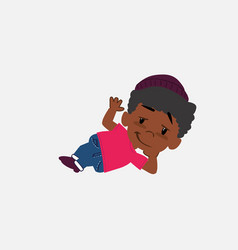 black boy in jeans doing the ok sign with his hand vector image