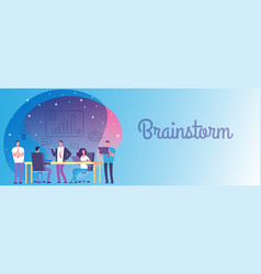 brainstorm business team work banner vector image
