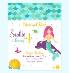 Bright invitation card with cute fairy mermaid vector