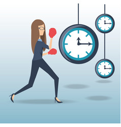 business woman hard working time pressure vector image