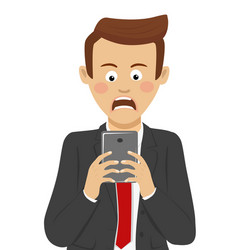 Businessman received bad news on mobile smartphone vector