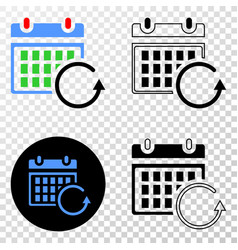 calendar rollback eps icon with contour vector image