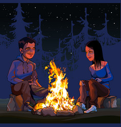 cartoon man and woman sitting by a campfire vector image
