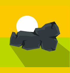 cartoon stone with shadow vector image