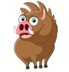 Cartoon strong wild boar vector