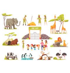 Cartoon zoo set vector
