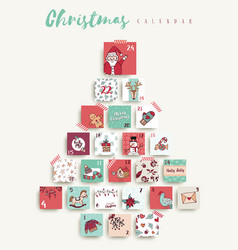christmas advent calendar cute cartoon holiday art vector image
