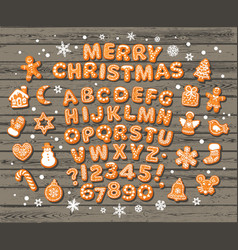 christmas and new year gingerbread alphabet cute vector image