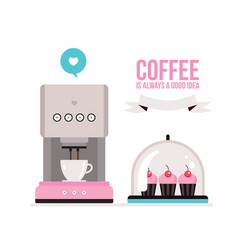 coffee machine and delicious muffins on tray on vector image