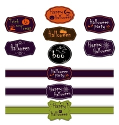 collection halloween ribbons and labels vector image