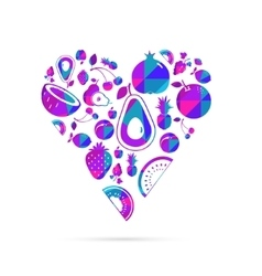 Colorful fruit heart vector