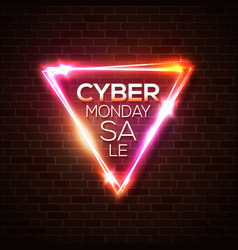 cyber monday sale promo neon background vector image