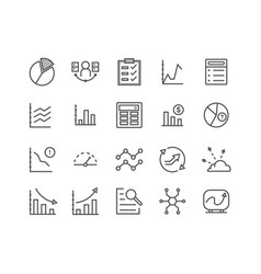 data analysis related line icons vector image