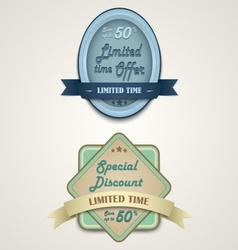Discount vintage retro design style vector image